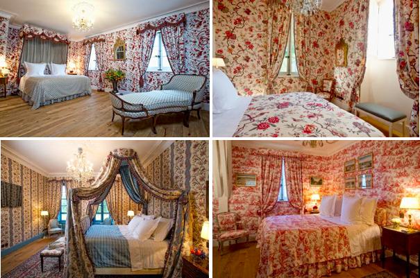 """De gauche à droite et de haut en bas, la """"Chambre Baldaquin"""" (270 ou 315 euros la nuit selon la saison), la """"Chambre aux Oiseaux"""" (200-250 la nuit), la """"Chambre Polonaise"""" (250-295 euros) et la """"Suite Oberkampf"""" (280-330 euros)."""