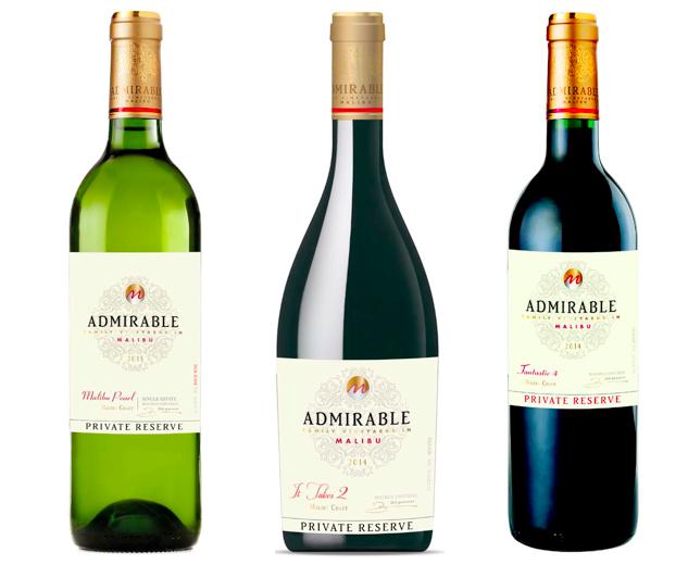 Les trois vins d'appellation Malibu Coast du domaine Admirable. Trois autres cuvées sont en AVA Santa Barbara County, et le rosé de la maison, So Happy!, est en appellation California)